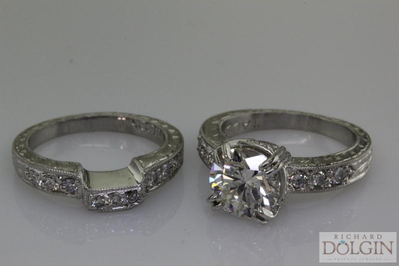Finished engagement ring and wedding band