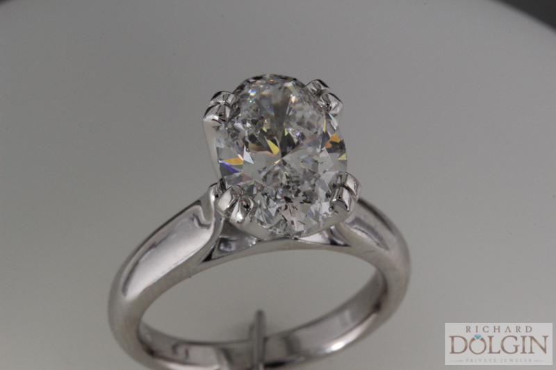 3.46 carat oval diamond in a solitaire