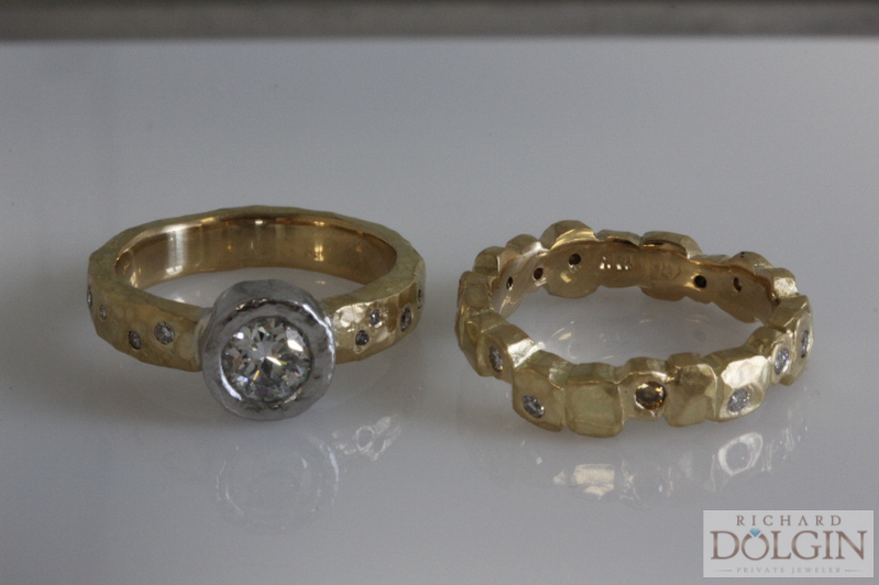 Custom designed wedding set in 18k gold and platinum