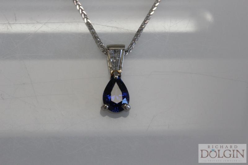 Sapphire and baguette diamond pendant
