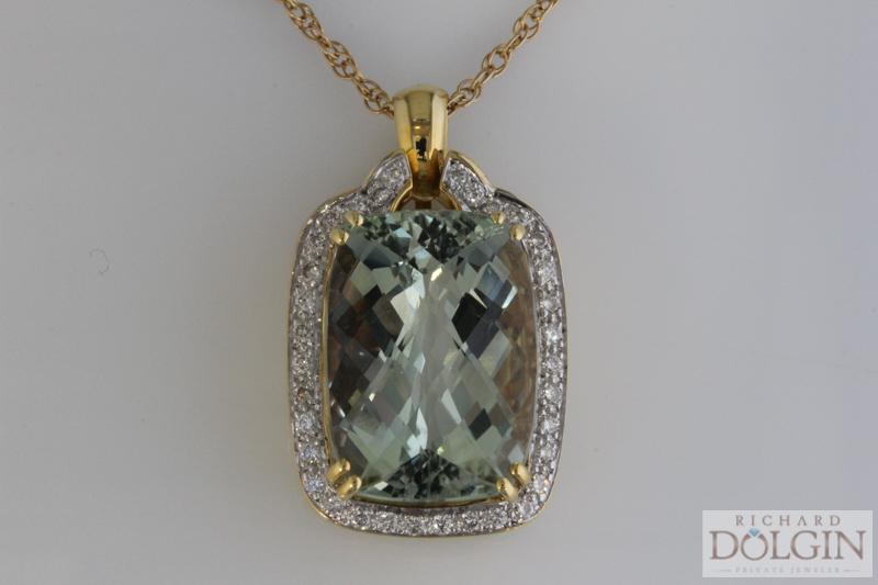 Green amethyst and diamond pendant