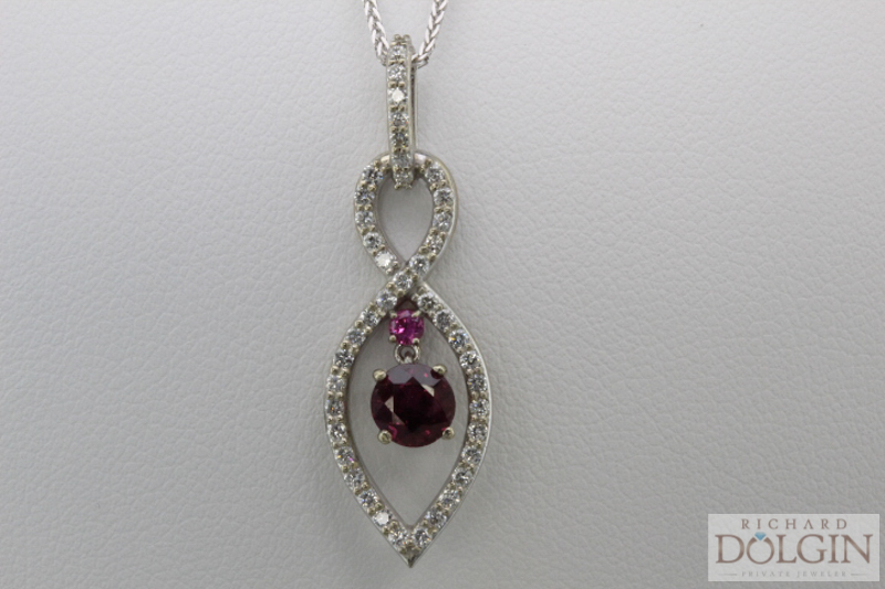Ruby, pink sapphire and diamond pendant