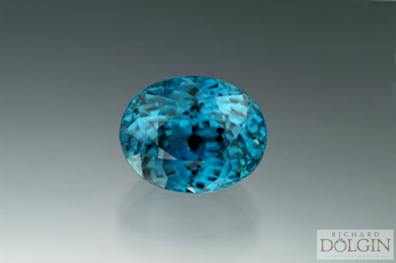Blue zircon gemstone, the color of the Caribbean Sea