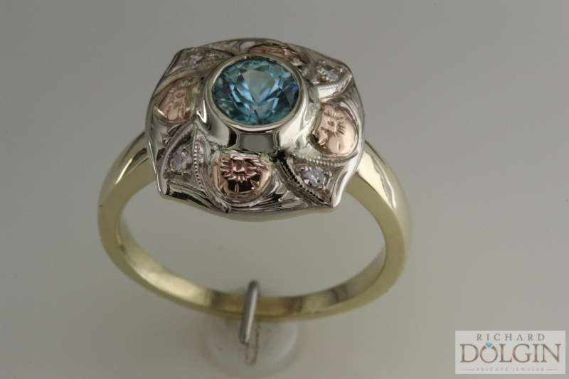 Antique ring with blue zircon center stone