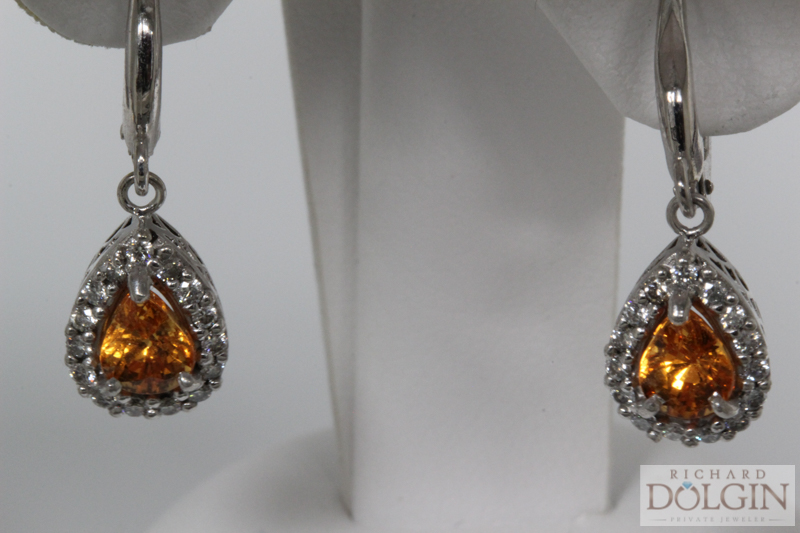 Spessartite and diamond earrings