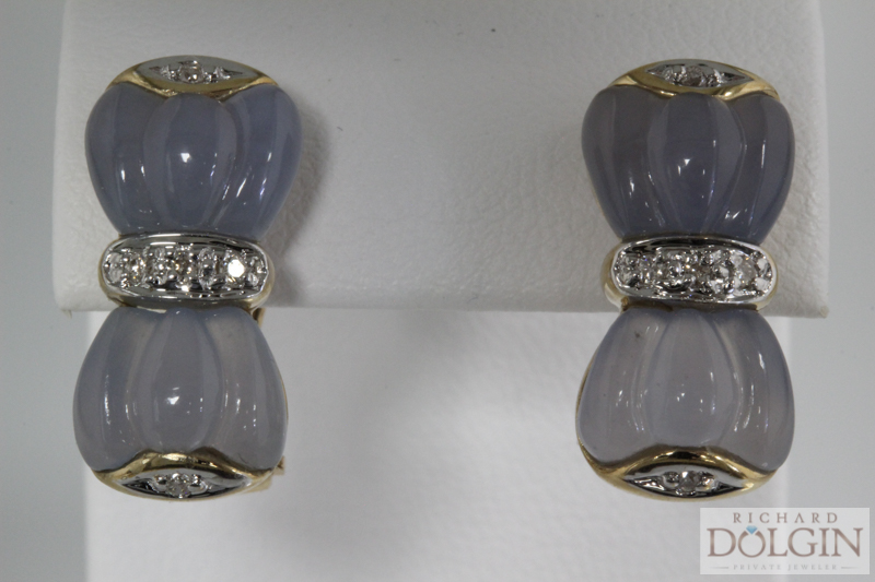 Carved chalcedony and diamond earrings
