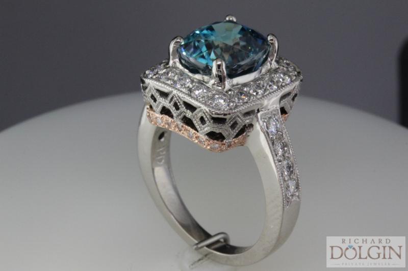 Custom made blue zircon ring