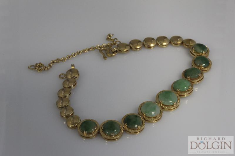 22k gold antique Jade bracelet