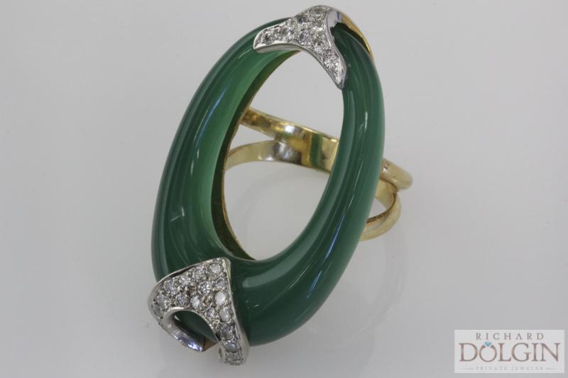 Designer Jade and diamond ring