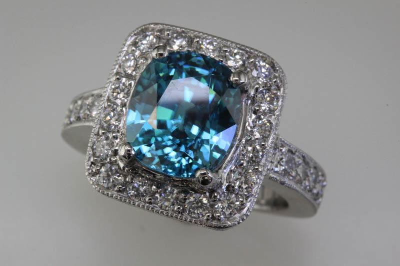 Blue zircon and diamond custom ring