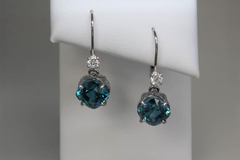 Blue zircon custom earrings