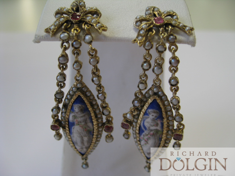 Antique drop cameo earrings