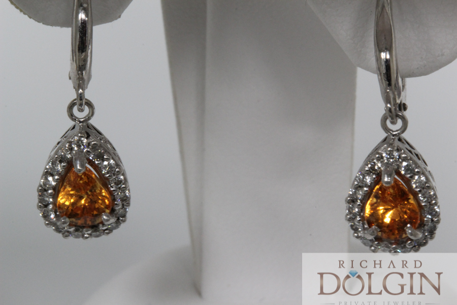 Spessartite and diamond dangle earrings
