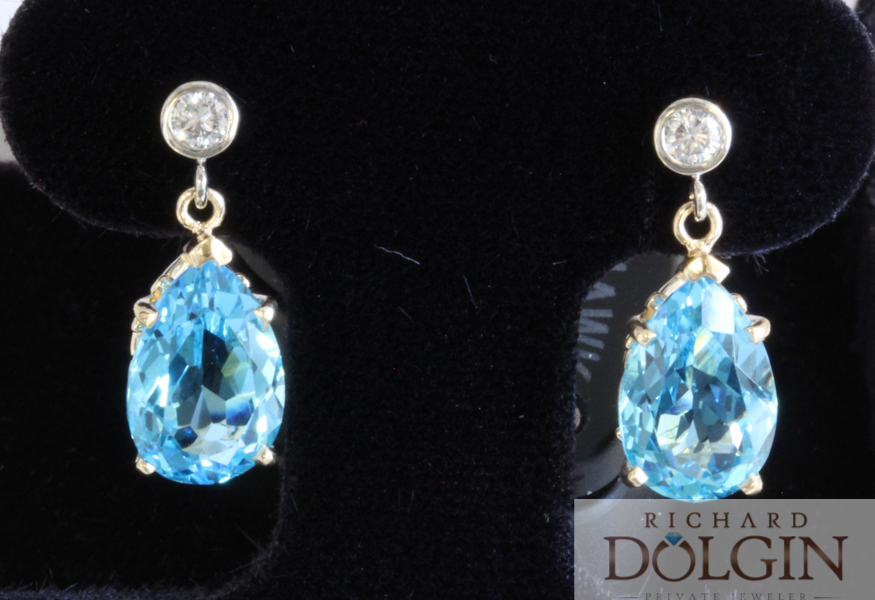 Diamond and blue topaz dangle earrings