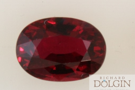 Oval pigeon blood red ruby