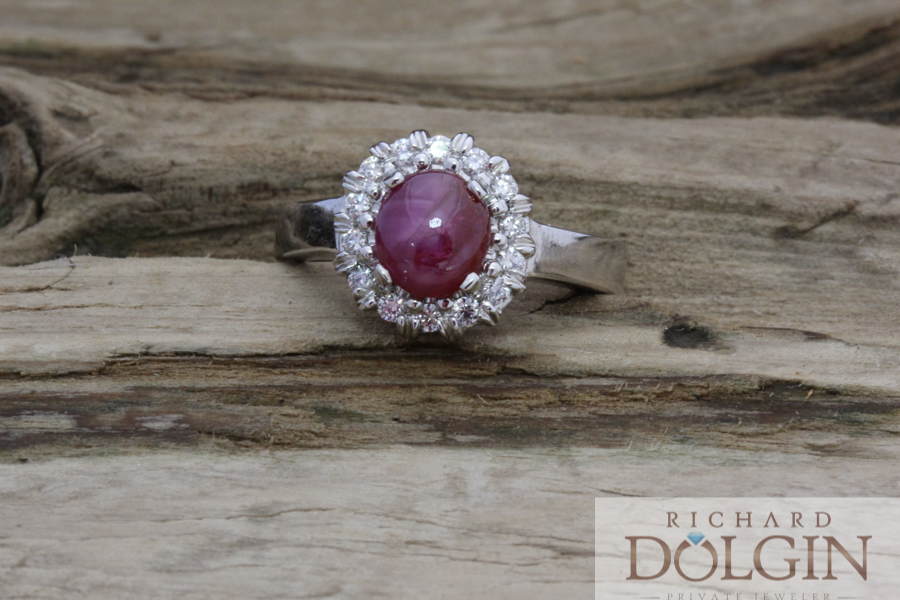 Star ruby ring with diamonds