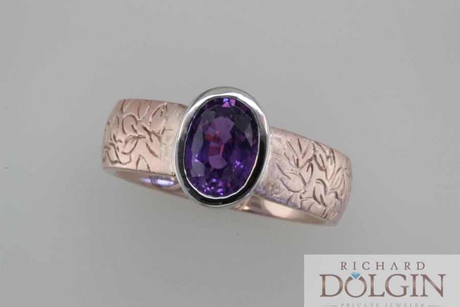 Purple sapphire in rose gold