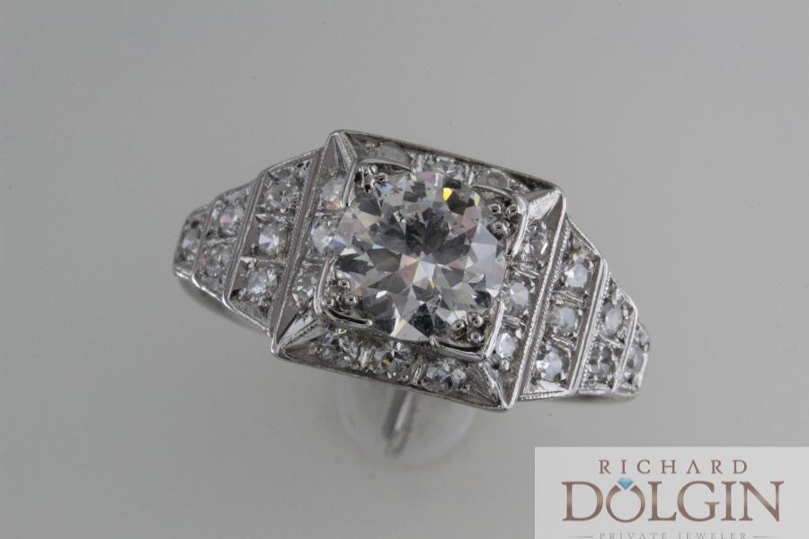 Platinum antique diamond ring