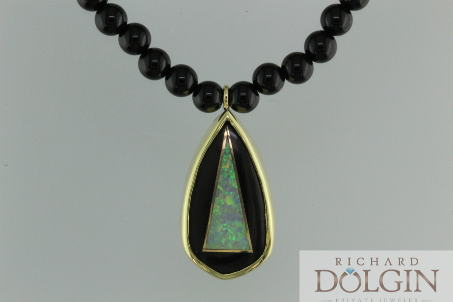 Black onyx bead necklace with black opal