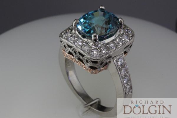 Blue zircon in custom made ring