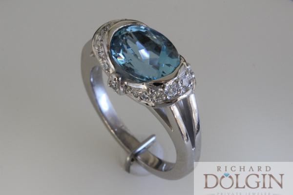 Elegant blue zircon and diamond ring