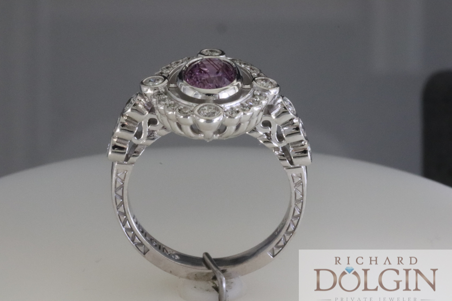 Purple sapphire in unique ring design