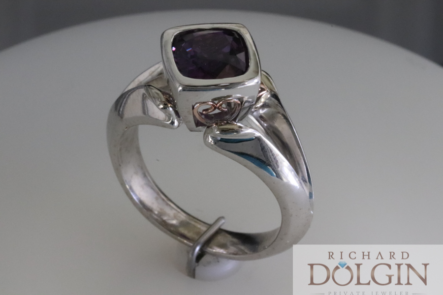 Purple sapphire in white and rose gold