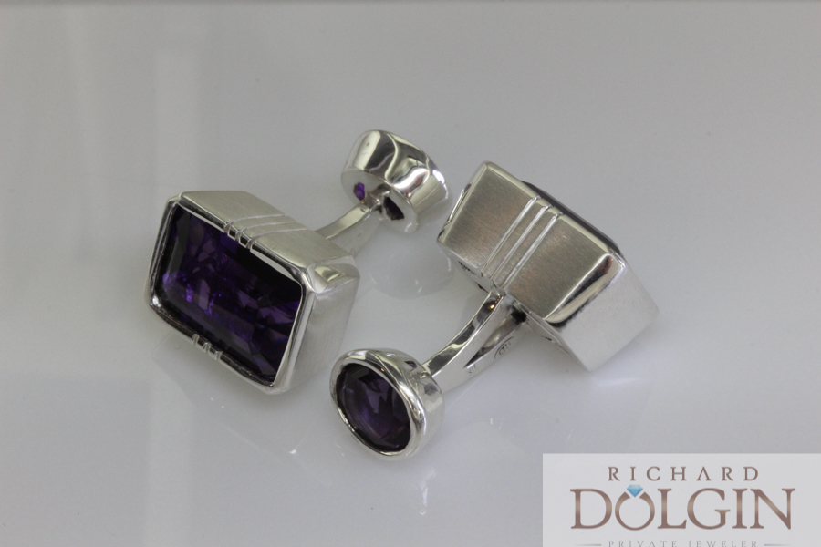 Amethyst cufflinks set in sterling silver