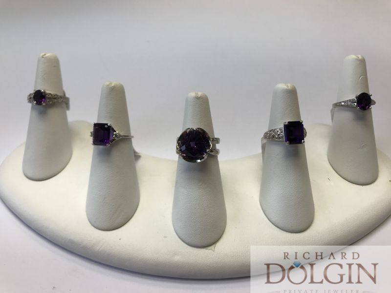 Amethyst ring collection at Richard Dolgin Private Jeweler