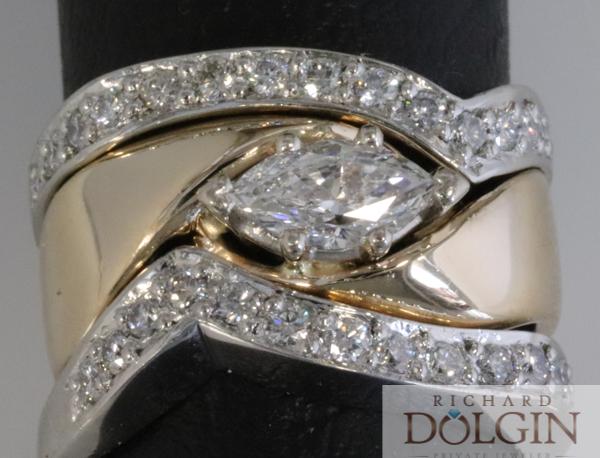 Bright set wedding bands white gold