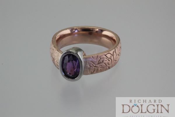 Engraved rose gold ring