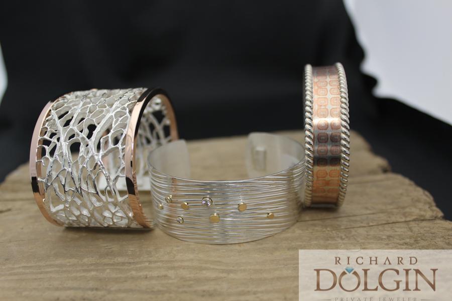 Sterling and gold cactus pattern,  Wave pattern, and Mokume Gane bracelets