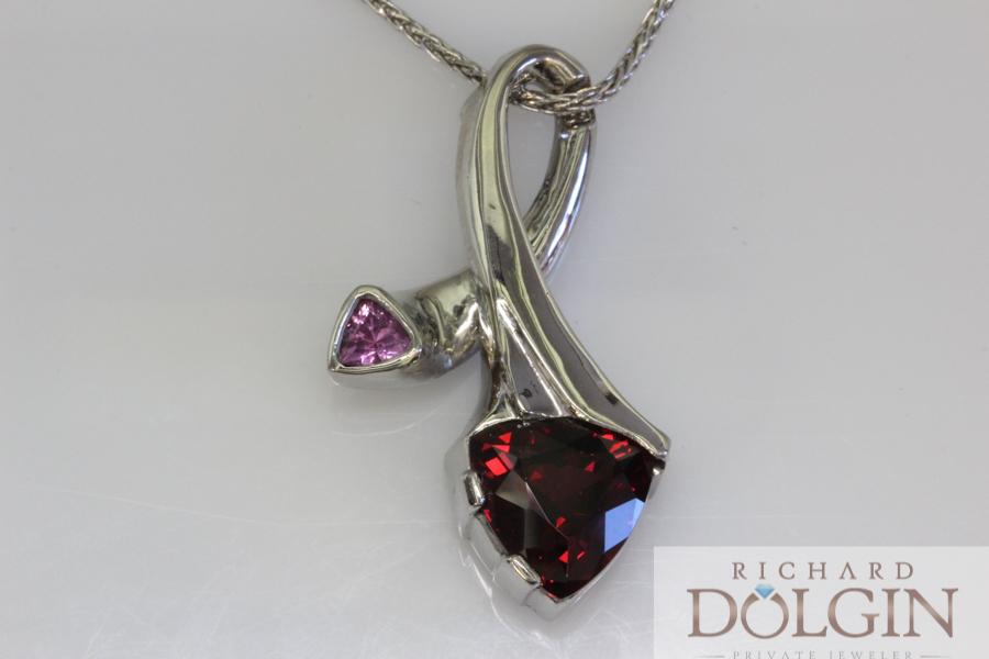 Pink sapphire and rhodolite garnet pendant