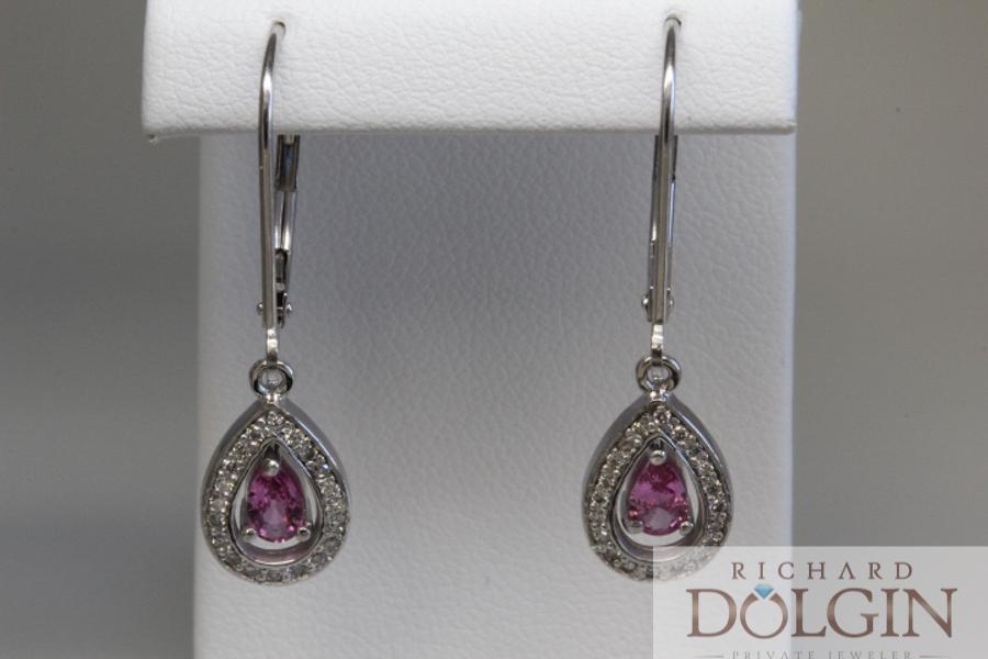 Diamond and pink sapphire earrings