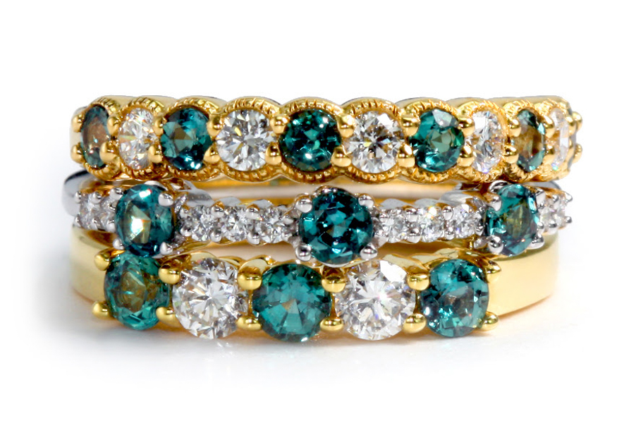 Alexandrite and diamond eternity bands