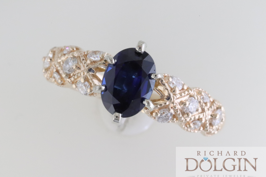 Blue sapphire and yellow gold engagement ring