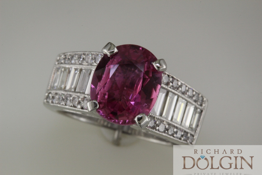 Ruby set in platinum engagement ring