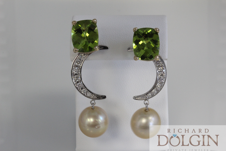 Peridot earrings with diamond and peal enhancers