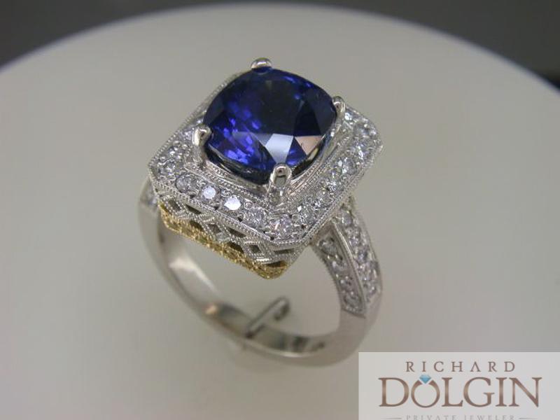 Oval sapphire handmade ring