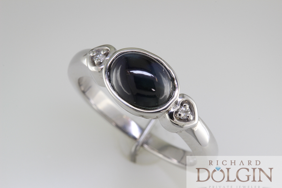 Cabochon oval sapphire ring