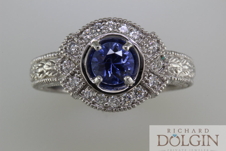 Vintage style sapphire and diamond ring