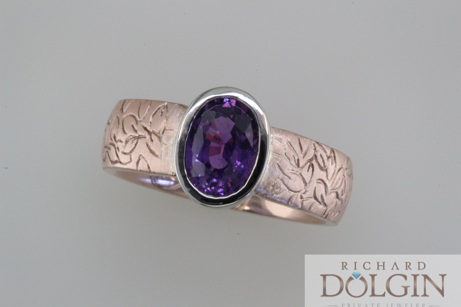 Purple sapphire ring in rose gold