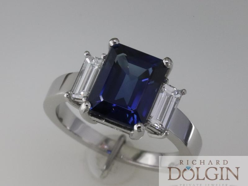 Emerald cut sapphire with diamond baguette side diamonds