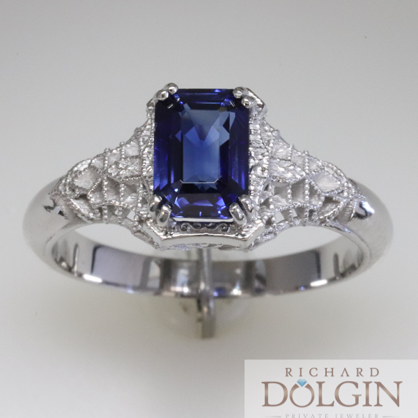 Blue sapphire in filigree ring