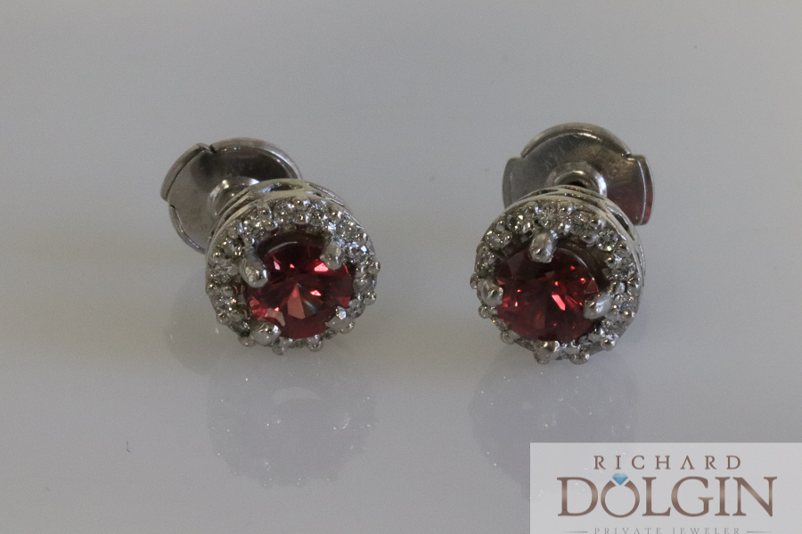 Red sapphire earrings