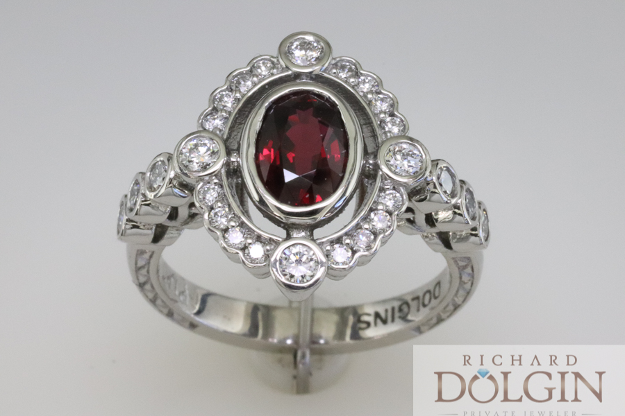 Vintage inspired ruby ring