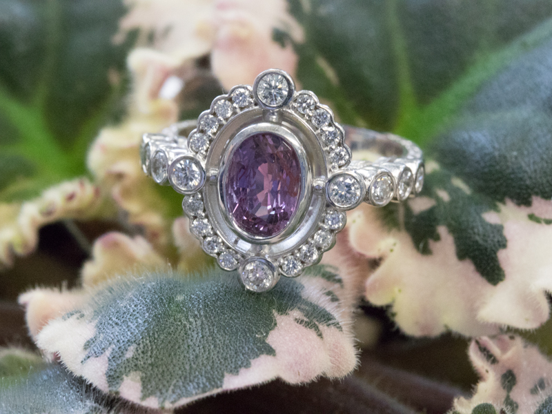 Purple Sapphire in Unique Custom Mounting