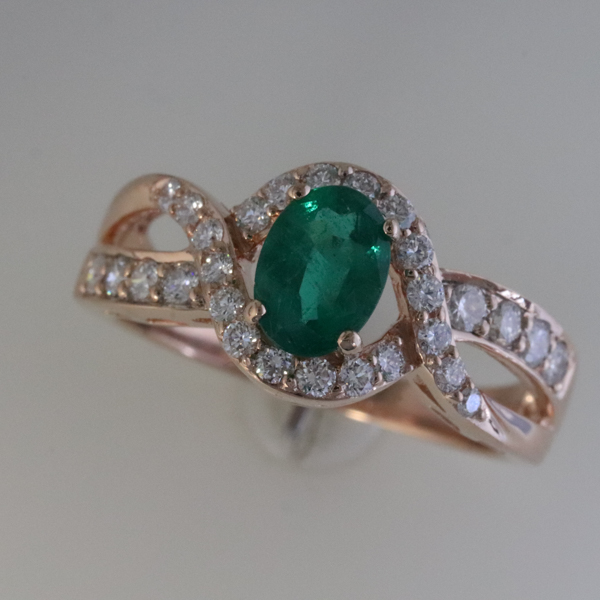 Natural Emerald and Diamond Ring in Rose Gold