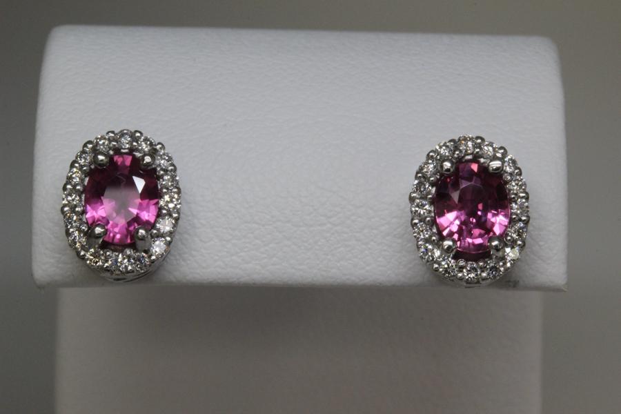 Oval pink sapphire earrings