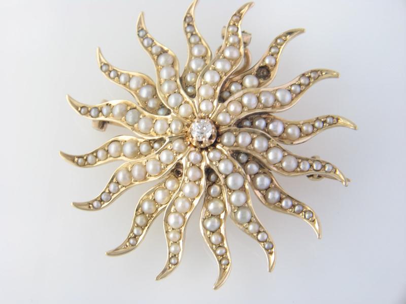 Antique pearl sunburst pin
